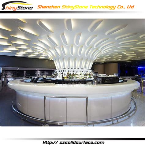 circular bar white circular shape design modern solid surface
