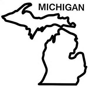 Outline Of Michigan State by Michigan State Outline Decal Sticker Black 8 Inch Wall Decor Stickers