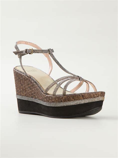 stuart weitzman strappy wedge sandals in brown metallic