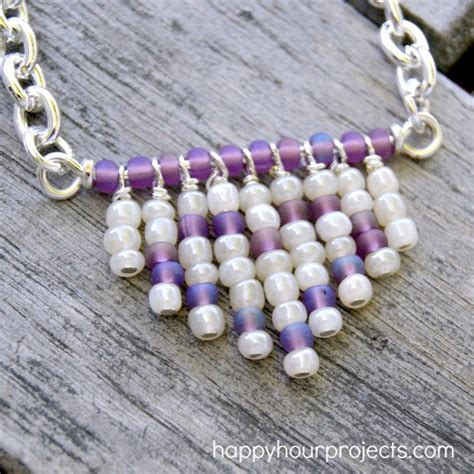 fringe seed bead necklace happy hour projects