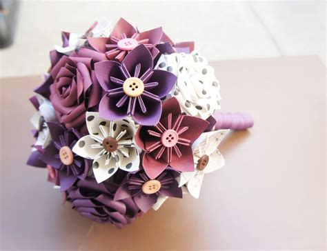 Origami Bouquet - paper kusudama origami flower wedding bouquet vintage