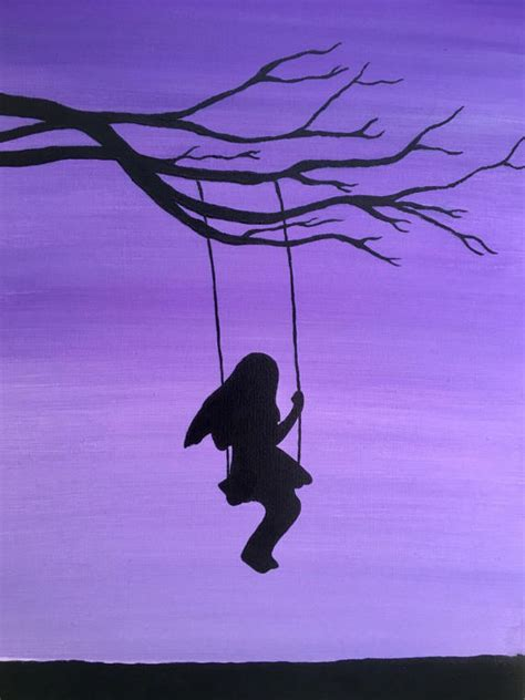 tree swing painting items similar to girl on swing painting swinging tree