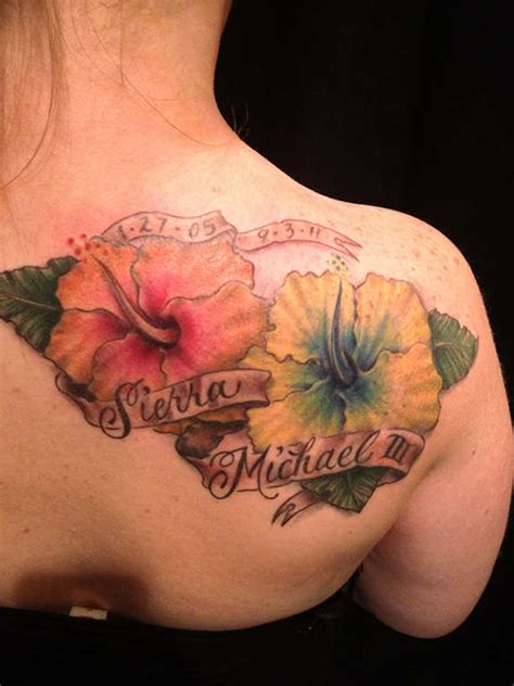 memorial flower tattoo designs memorial hibiscus flowers with banner on right back