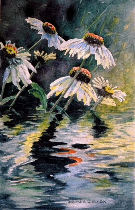 intermediate acrylic painting ideas how to paint flower reflections in water in watercolor