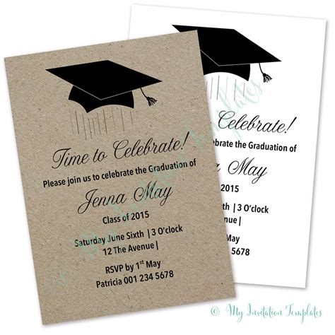 mortar board card template graduation invitation template