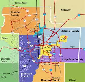 denver colorado county map map of denver metro area cities