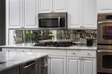 mirrored kitchen backsplash antique mirror backsplash installed