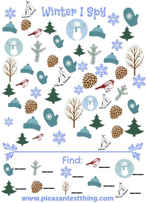 free printable winter board games winter i spy game the pleasantest thing