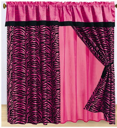 pink and black zebra curtains 8pc pink zebra animal print flocking window curtain set