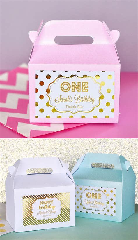 Giveaways For 1st Birthday Party - 1st birthday party favors boxes pink and gold 1st birthday