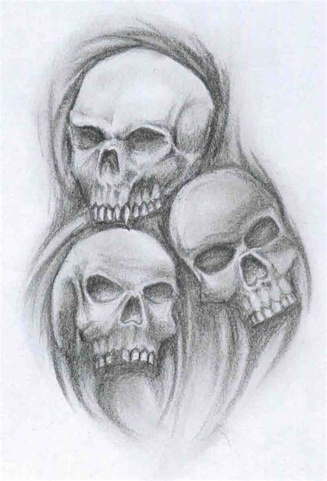 three skull tattoo designs three skull tattoos designs