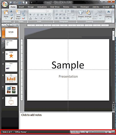 powerpoint themes greyed out status bar in powerpoint 2007 for windows