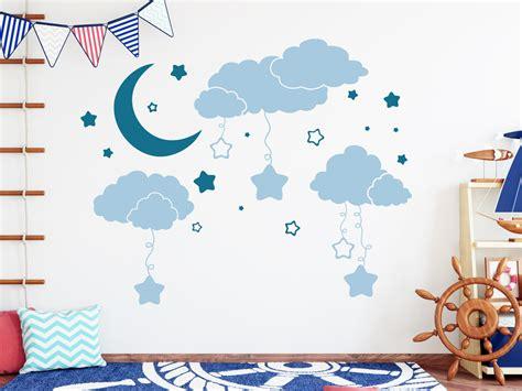 Wandtattoo Kinderzimmer Wolken by Wandtattoo Wolken Mit Mond Und Sternen Wandtattoo