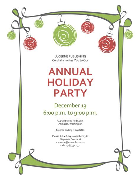 holiday party invitation with ornaments and swirling