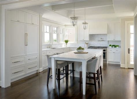 white kitchen island  legs  dining table lined