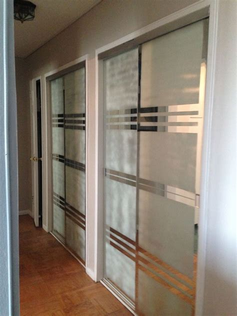 blue tape  frosted spray  create  modern design  mirror closet doors  hallway
