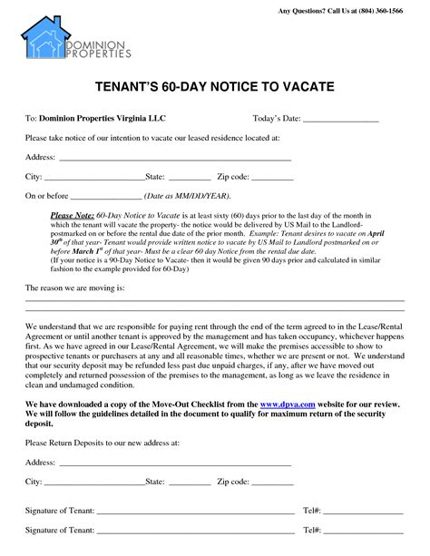 60 day notice to vacate template 60 day notice to vacate template best business template