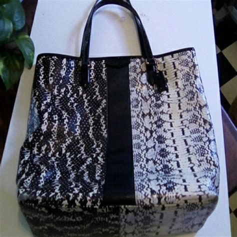 Coach Ergo Printed Python Large Tote by Coach Coach Blk White Snake Print Large Tote From Gladys