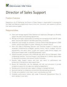 Sales Support Manager Description director of sales support description