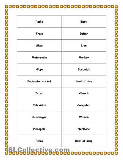 Free Printable Pictionary Words