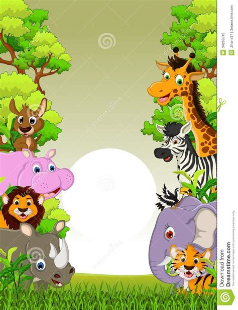 Zebra Wall Mural cute animal wildlife cartoon with forest background stock
