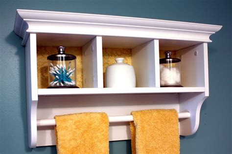 White Bathroom Wall Shelf by White Wall Shelf With Towel Bar
