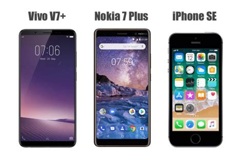 vivo v7 plus vs nokia 7 plus vs iphone se price in india specifications features compared
