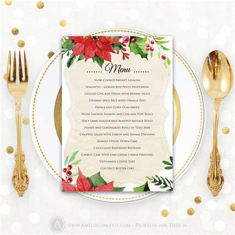 printable christmas menu cards christmas menu printable dinner menu rustic christmas dinner