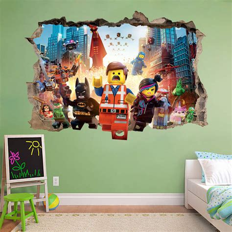 lego 3d wall sticker smashed awesome bedroom