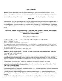 2014 fl event marketing and promotional resume