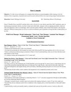 Promotional Resume Sample 2014 Fl Event Marketing And Promotional Resume