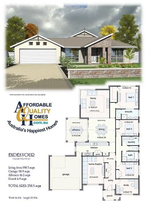 affordable quality homes endeavour 258sqm house plans