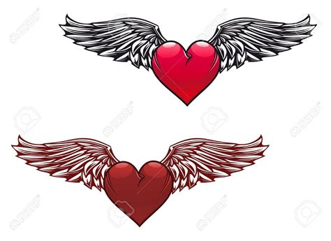 heart with wings tattoos retro with wings for design royalty free