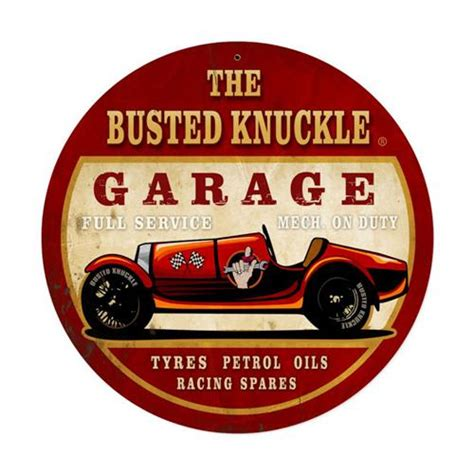 The Busted Knuckle Garage by Busted Knuckle Garage Race Car Service Tin Metal