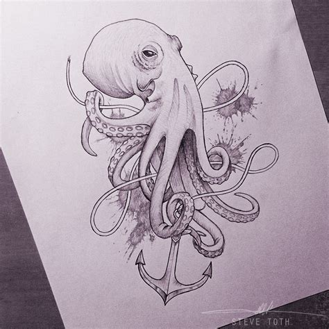 sketch tattoo style quot octopus sketch quot by steve toth octopod
