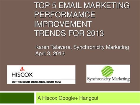 Email Marketing 5 by 2013 Top 5 Email Marketing Trends