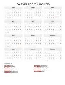 Peru Calendã 2018 Calendario Per 250 A 241 O 2018 Feriados