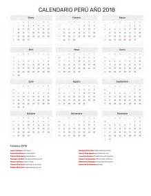 Calendario 2018 Con Feriados Peru Calendario Per 250 A 241 O 2018 Feriados