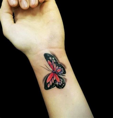 tattoo 3d wrist picture of colored 3d butterfly on the left wrist