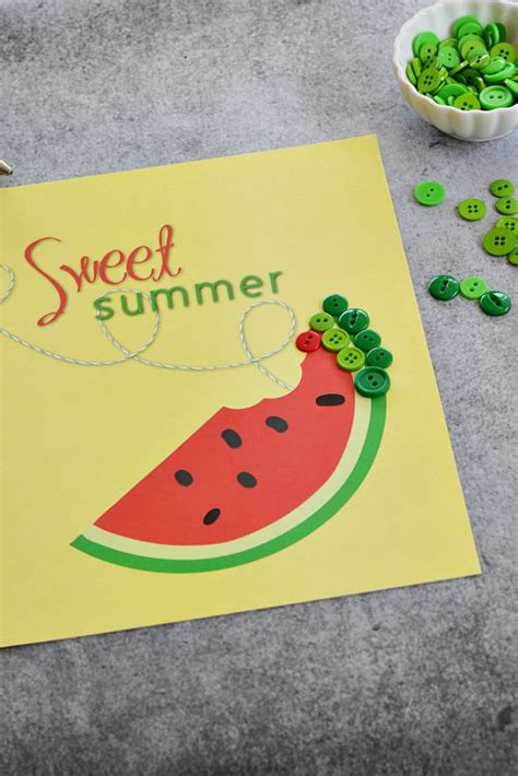 printable summer crafts for easy watermelon button craft free printable