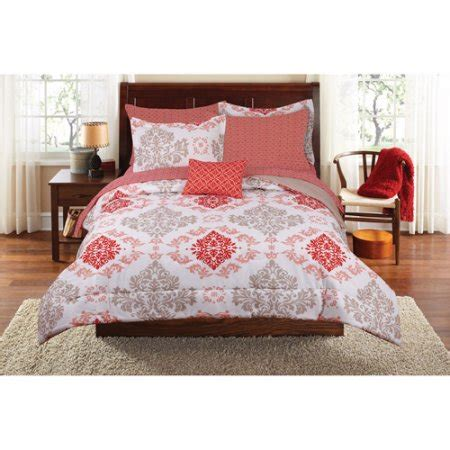 Mainstays Coral Damask Bed In A Bag Bedding Set Walmart Com Walmart Bed Sets