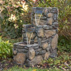 3 tier rock outdoor fountain at hayneedle