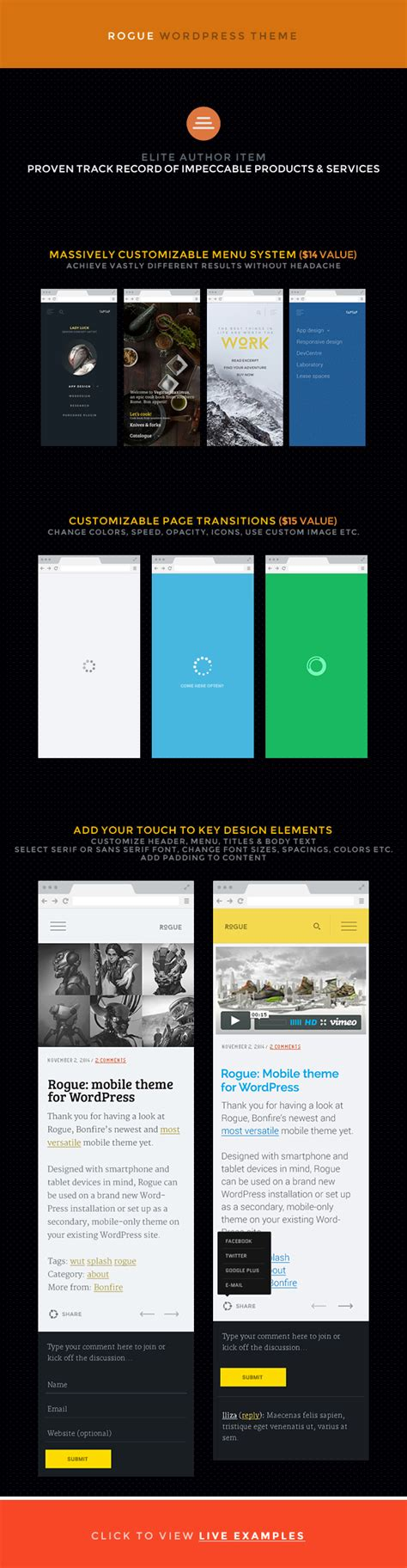 mobile themes themeforest rogue customizable mobile theme for wordpress by