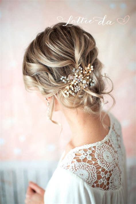 Wedding Flower Hair Comb gold boho hair vine comb bridal pearl flower hair comb