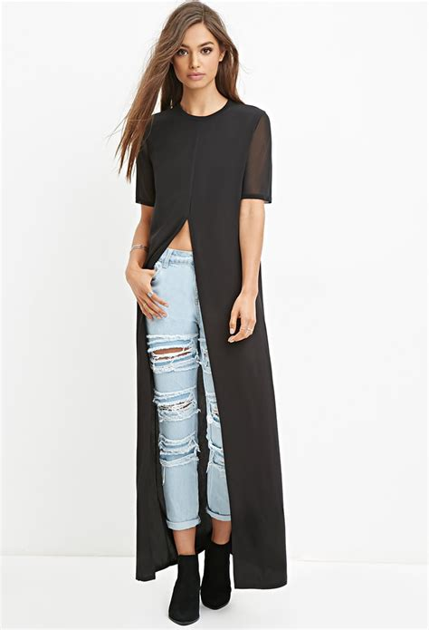 Maxi Top forever 21 high slit maxi top in black lyst