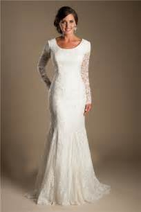 Home 187 modest mermaid scoop neck long sleeve lace wedding dress with