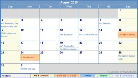 2015 august calendar with holidays search results
