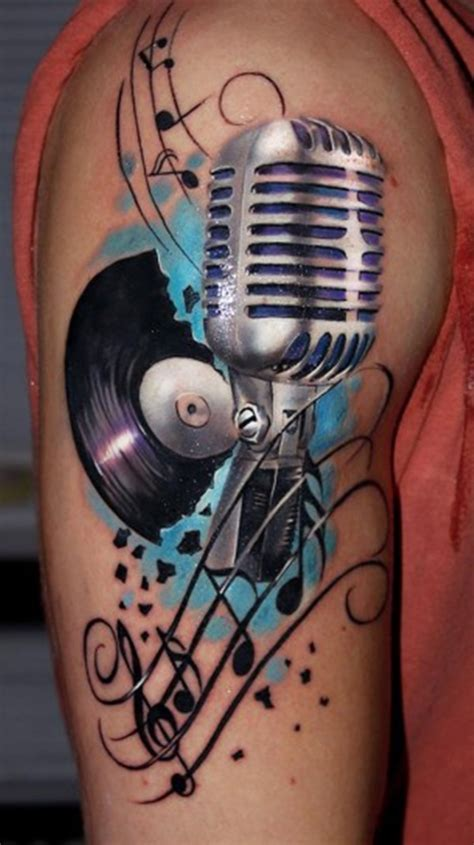studio microphone tattoo designs 99 creative music tattoos that are sure to blow your mind