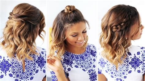 cute hairstyles quick and easy 3 easy hairstyles for short hair youtube