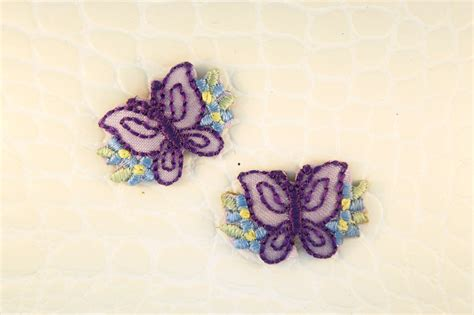 applique iron purple butterfly blue flowers iron on applique appliques 1